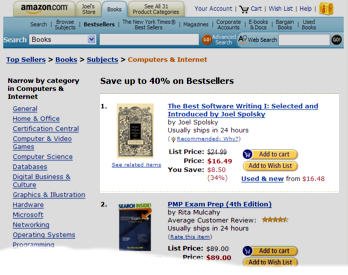 Picture of Amazon.com's Computers & Internet Bestseller list